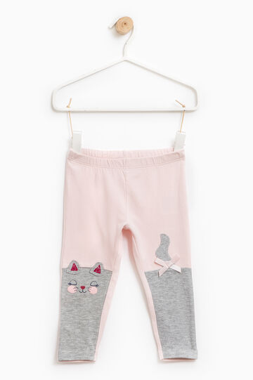Cotton trousers with glitter print, Pink, hi-res