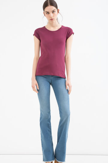Solid colour T-shirt in 100% cotton, Claret Red, hi-res