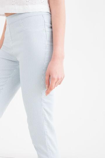 Pantaloni capri stretch fantasia, Bianco/Azzurro, hi-res