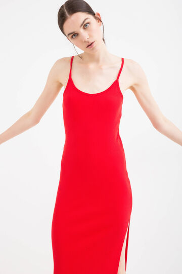 Long cotton dress with split, Red, hi-res