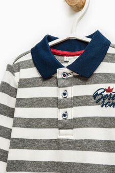 Striped polo shirt in 100% cotton, Dark Grey, hi-res