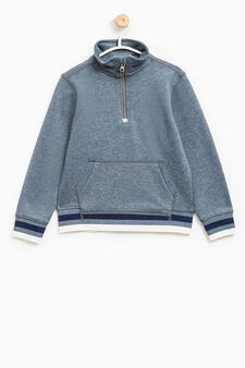 Sweatshirt with pouch pocket and zip, Deep Blue, hi-res