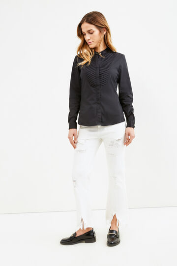 Shirt in poplin with pleating, Black, hi-res