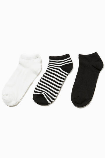 Three-pair pack short solid colour and striped socks, White/Black, hi-res