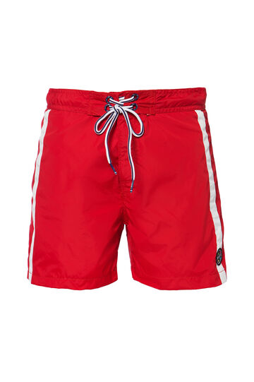 Swim boxer shorts with drawstrings by Maui and Sons, Red, hi-res