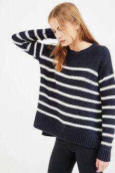 Pullover tricot fantasia a righe, Bianco/Blu royal, hi-res