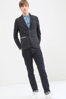 Blazer with raw hems, Blue, hi-res