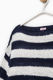 Striped knitted pullover, White/Blue, hi-res