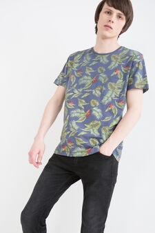 G&H patterned cotton T-shirt, Deep Blue, hi-res