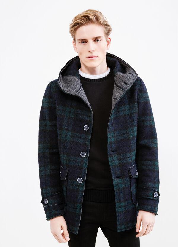 Wool blend coat with tartan pattern   OVS