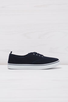 Solid colour lace-up sneakers, Navy Blue, hi-res