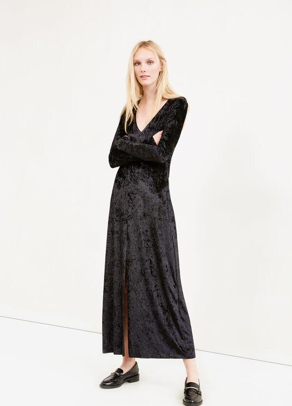 Long stretch velvet dress with split   OVS