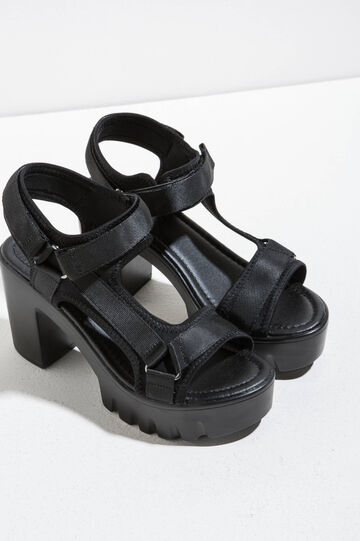 Canvas sandals with heel