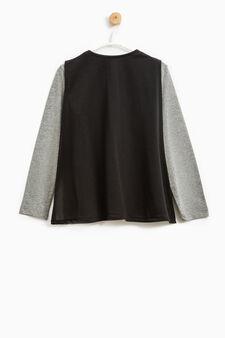 Batman print stretch T-shirt with cape, Grey Marl, hi-res