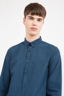Slim-fit printed casual shirt, Blue, hi-res