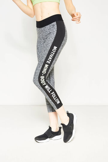 Crop leggings with printed lettering, Grey Marl, hi-res