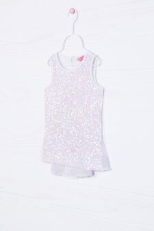 Stretch cotton top with sequins, White, hi-res