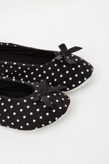 Ballerina slippers with polka dot pattern, Black, hi-res