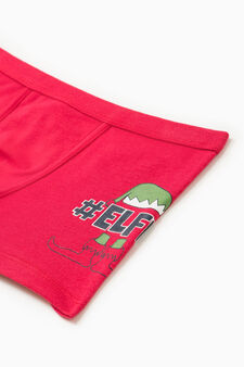 Boxer stretch con stampa laterale, Rosso, hi-res