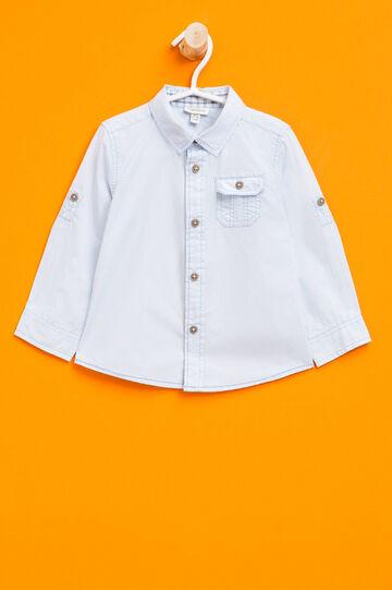 Solid colour 100% cotton shirt, Light Blue, hi-res