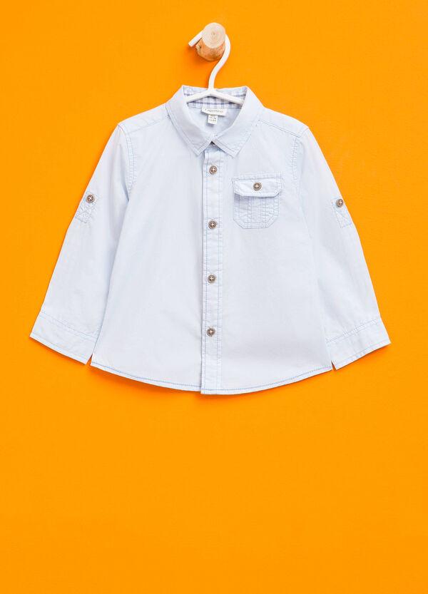 Camisa en algodón 100% en color liso | OVS