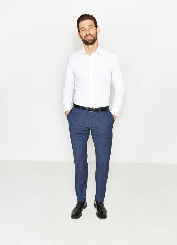 Cotton blend slim-fit formal shirt | OVS