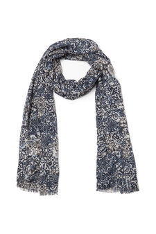 Printed scarf, White/Blue, hi-res