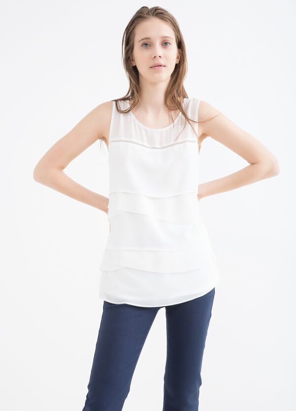 Sleeveless blouse with frills | OVS