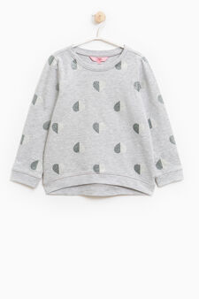 Glitter patterned 100% cotton sweatshirt, Light Grey, hi-res