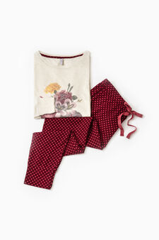 Cotton blend pyjamas with polka dots, Cream, hi-res