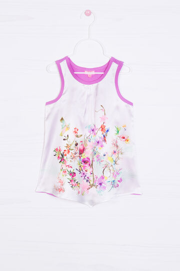 Pleated top with flower print, White/Pink, hi-res