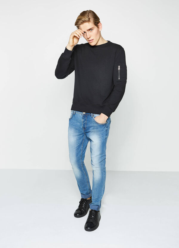 Cotton blend sweatshirt with small pockets | OVS