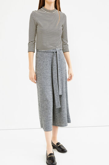 Stretch crop trousers with bow belt, Grey, hi-res