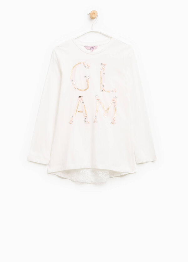 T-shirt with lace, sequins and diamantés | OVS