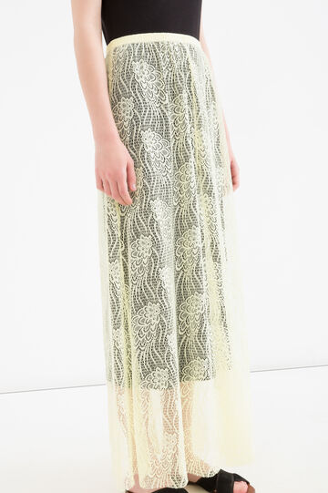 Solid colour long openwork skirt, Yellow, hi-res
