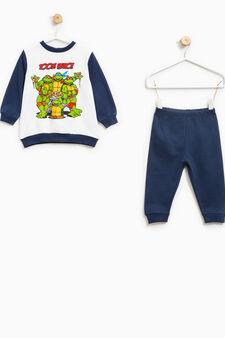 Pyjamas with maxi Teenage Mutant Ninja Turtle print, White/Blue, hi-res