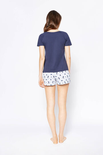 Pyjama top and shorts with print and pattern, White/Blue, hi-res