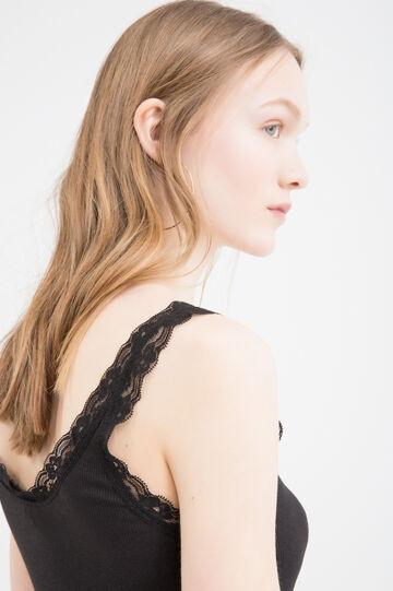 Cotton blend top with lace, Black, hi-res