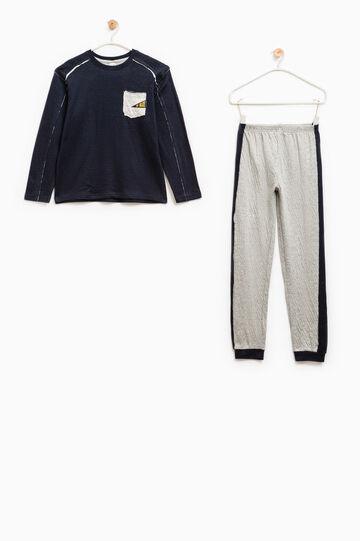 100% cotton pyjamas with pocket, Grey/Blue, hi-res