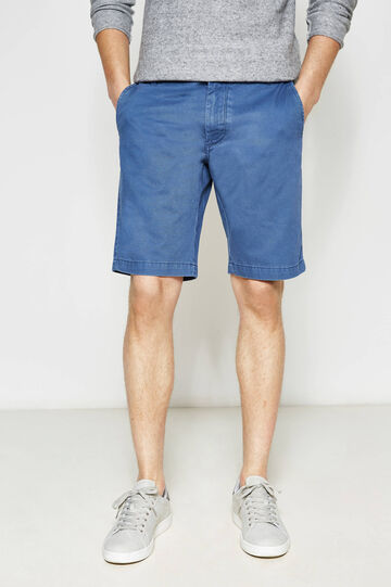 Regular-fit cotton chino Bermuda shorts, Chambray Blue, hi-res