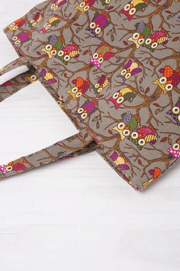 Patterned shopping bag, Grey, hi-res