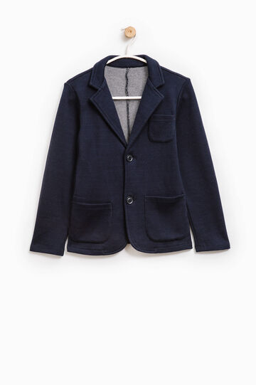 Elegant wool jacket with two buttons, Navy Blue, hi-res
