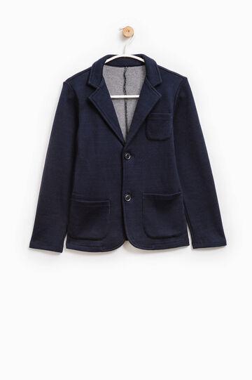 Chaqueta elegante de lana con cierre con dos botones, Azul marino, hi-res