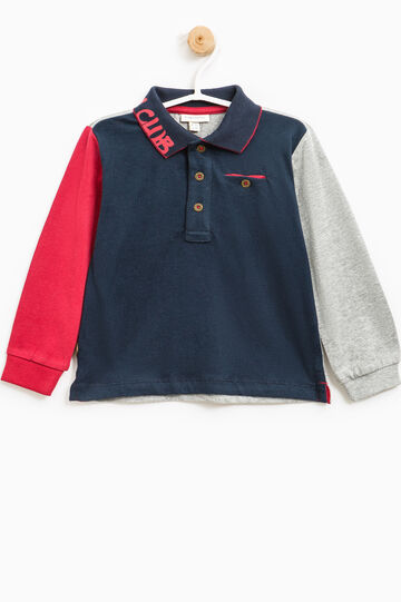 100% cotton polo shirt with pocket, Blue/Red, hi-res
