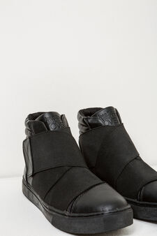 High sneakers with elasticated bands, Black, hi-res