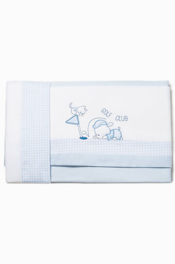 Bed sheet with check trim, White/Light Blue, hi-res