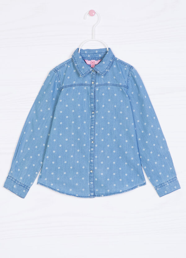 Polka dot denim shirt | OVS