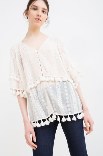 Embroidered blouse with tassels, Cream White, hi-res