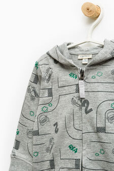 100% cotton sweatshirt with all-over print, Grey, hi-res