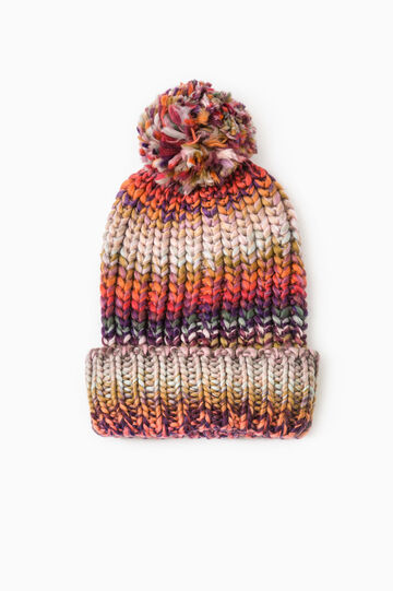 Striped beanie cap with pompom, Multicolour, hi-res
